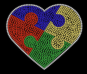 Autism Heart Rhinestone Heat Transfer Design