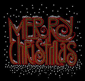 Merry Christmas Rhinestone Heat Transfer Design