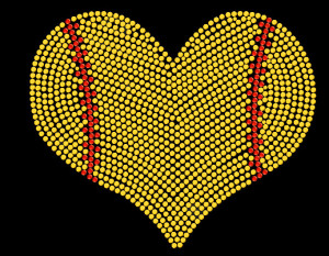 Softball Mom Heart Rhinestone Heat Transfer