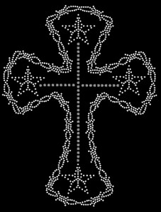 Barbed Cross Rhinestone Heat Transfer Design