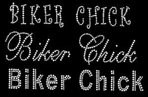 Biker Chick Rhinestone Heat Transfer Design