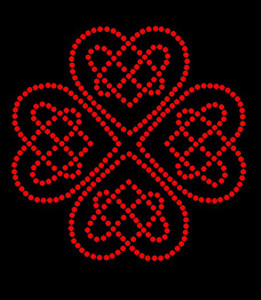 Celtic Hearts Rhinestone Heat Transfer Design