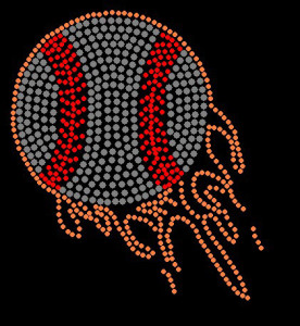 Baseball Rhinestone Heat Transfer Design