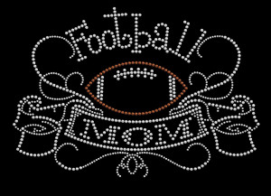 Football Mom Rhinestone Heat Transfer