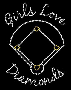 Softball Rhinestone Heat Transfer Design