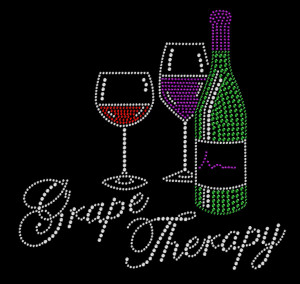 Grape Therapy Rhinestone Heat Transfer