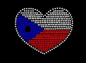 Texas Flag Heart Rhinestone Heat Transfer