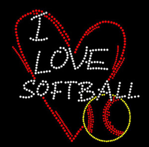 I Love Softball Rhinestone Heat Transfer
