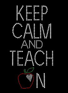 Keep Calm Teacher Rhinestone Heat Transfer