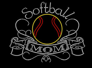 Softball Mom Rhinestone Heat Transfer