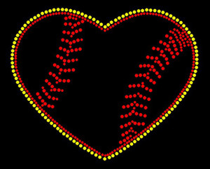 Baseball Heart Rhinestone Heat Transfer