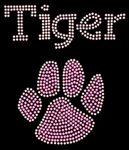 Tiger Paw Rhinestone Heat Transfer
